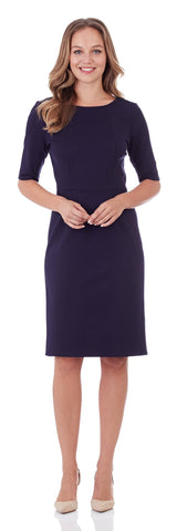 Erin Ponte Sheath Dress in Dark Navy