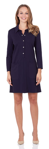 Candice Ponte Shirt Dress in Dark Navy