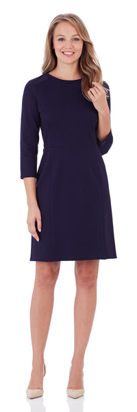 Women's Heidi Ponte Sheath Dress in Dark Navy with Elbow Length Sleeve
