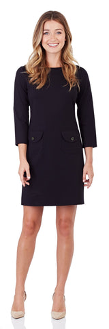 Sabine Ponte Shift Dress in Black