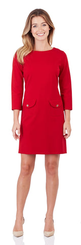 Sabine Ponte Shift Dress in Red