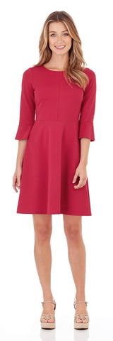 Talia Ponte Fit & Flare Dress in Dark Fuchsia
