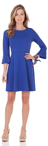 Talia Ponte Fit & Flare Dress in Royal