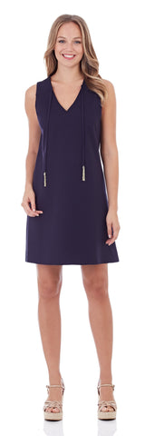 Juliet Ponte Shift Dress in Dark Navy