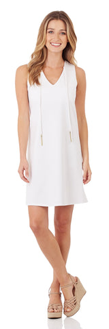 Juliet Ponte Shift Dress in White