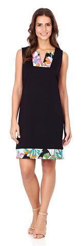 Carissa Ponte Shift Dress in Black