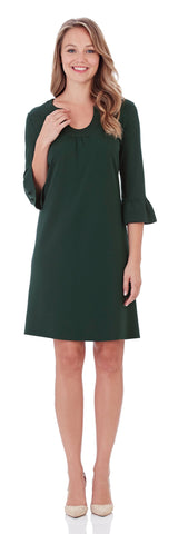 Nancy Ponte Dress in Pine