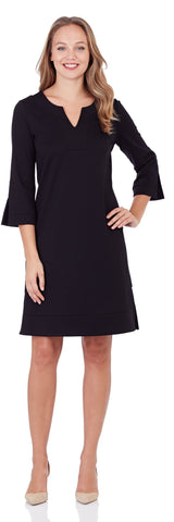 Megan Ponte Tunic Dress in Black