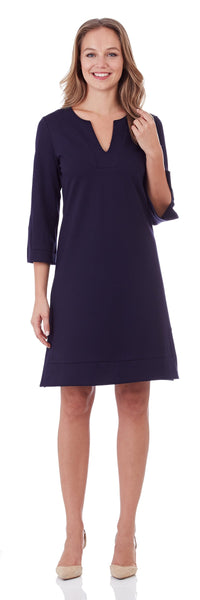 Megan Ponte Tunic Dress in Dark Navy