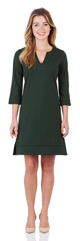 Megan Ponte Tunic Dress in Pine