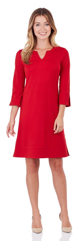 Megan Ponte Tunic Dress in Red