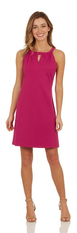 Lisa Dress <br>Ponte Knit - Dark Fuchsia