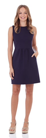 Mary Pat Ponte Dress in Dark Navy