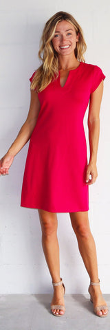 Laney Dress <br>Ponte Knit - Dark Fuchsia - FINAL SALE