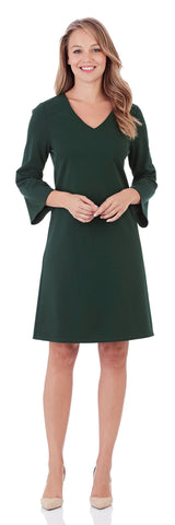 Lexi Ponte Shift Dress in Pine