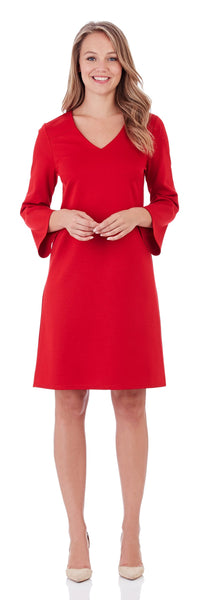 Lexi Ponte Shift Dress in Red