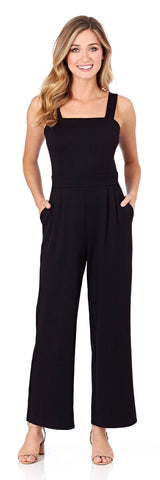 Tracy Ponte Wide Leg Jumpsuit in Black