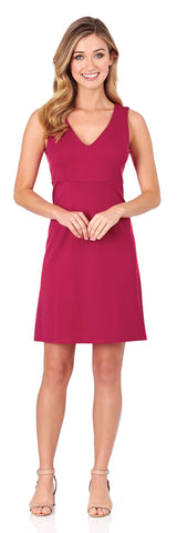 Naomi Ponte Dress in Dark Fuchsia