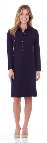 Gracie Ponte Shirt Dress in Dark Navy - LONG