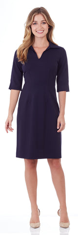 Michelle Ponte Dress in Dark Navy - LONG
