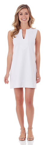 Teagan Ponte Shift Dress in White