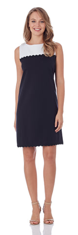 Hattie RicRac Ponte Shift Dress in Dark Navy