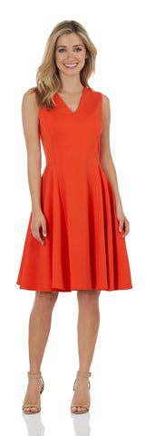 Leah Dress <br>Ponte Knit - Tangerine