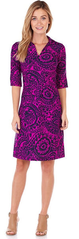 Michelle Dress in Tango Paisley Orchid - LONG - FINAL SALE