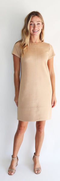 Kayla Dress <br>Faux Suede - Camel