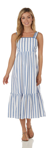 Everly Dress <br>Cotton Stripe - Ivory/Blue