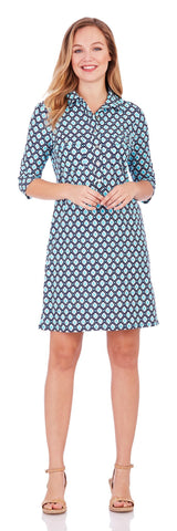 Sloane Dress in Mini Diamond Cayman Blue - Jude Connally - 2