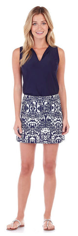Morgan Skort in Brushed Ikat Navy - Jude Connally - 1