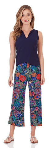 Makenzie Wide Leg Cropped Pant in Botanical Floral Navy
