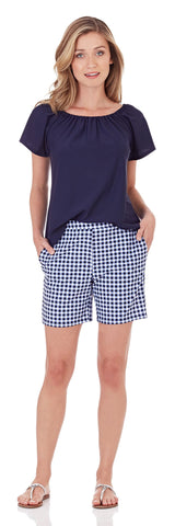 Thea Short in Gingham Navy