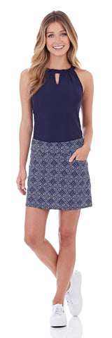 Tanya Skort in Batik Medallion Navy