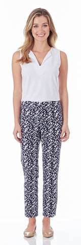 Lucia Slim Ankle Length Pant in Abstract Spots Navy - FINAL SALE