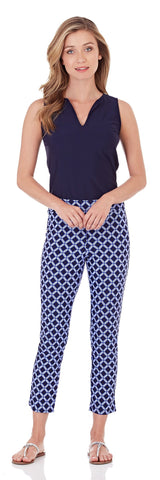 Lucia Slim Cropped Pant in Bamboo Lattice Navy