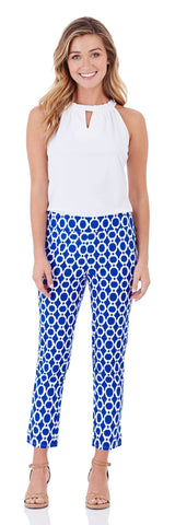 Lucia Slim Cropped Pant in Circle Ikat Blue