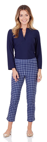 Lucia Slim Cropped Pant in Classic Plaid Navy