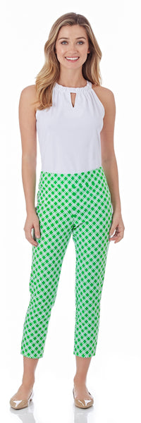 Lucia Slim Ankle Length Pant in Linked Lattice Grass