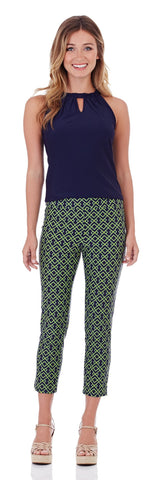 Lucia Slim Cropped Pant in Trellis Trio Navy