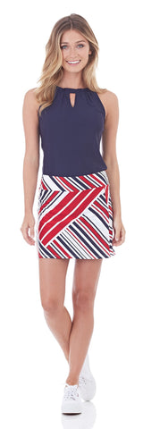 Morgan Skort in Patchwork Stripe Red