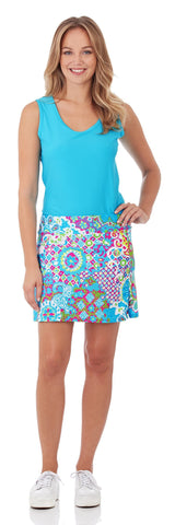 Morgan Skort in Sun Drenched Tiles Turq