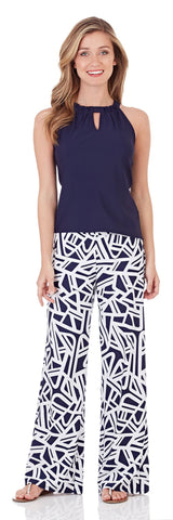 Trixie Wide Leg Pant in Abstract Geo Navy