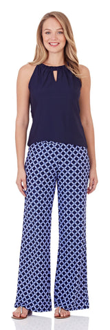 Trixie Wide Leg Pant in Bamboo Lattice Navy