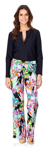 Trixie Wide Leg Pant in Fresh Floral Black - FINAL SALE