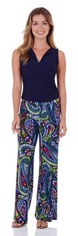 Trixie Wide Leg Pant in Jungle Paisley Navy