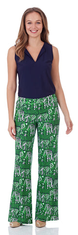 Trixie Wide Leg Pant in Lucky Elephants Green