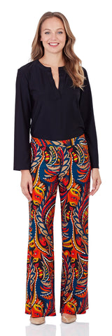 Trixie Wide Leg Pant in Sundance Paisley Red