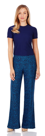 Trixie Wide Leg Pant in Speckled Spot Peacock - Jude Connally - 1